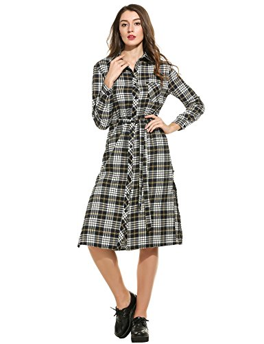ANGVNS Womens Sleeves Button Checker