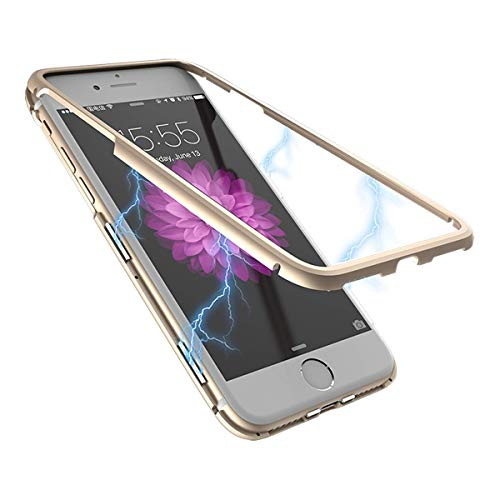 iPhone 7 Case, iPhone 8 Case, WSKEN Ultra-Thin Anti-Scratch Shockproof Magnetic Adsorption Metal Case with Hard Transparent Acrylic Back Cover Compatible with iPhone 7/iPhone 8 Precisely (Gold)
