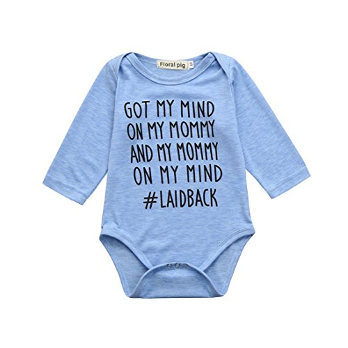 FEITONG Newborn Baby GOT My Mind ON My Mommy Funny Bodysuits Rompers Outfits(12-18M,Blue) -