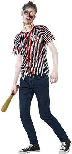 Teen Older Boys Zombie Baseball Player Halloween Fancy Dress Costume with Eye Patch & Baseball Bat 12-14 -