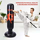Gads Punching Bag for Kids   Premium Inflatable Bag for Immediate Bounce-Back   62 inches Free Standing Bag for Boxing, Kickboxing, Karate & Stress Relief