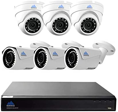 Montavue 8 Channel 4K Home Security Camera System w 6 4MP 2K IP Bullet and Dome Cameras, 2TB HDD 130ft Color Night Optics MTIP80823B3E