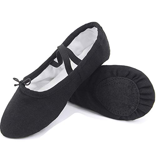 Black 9 M US Toddler Koolen Ballet shoes, Canvas & Leather Ballet Slippers, Ballet Dance shoes for Girls (Toddler Little Kid Big Kid Women)