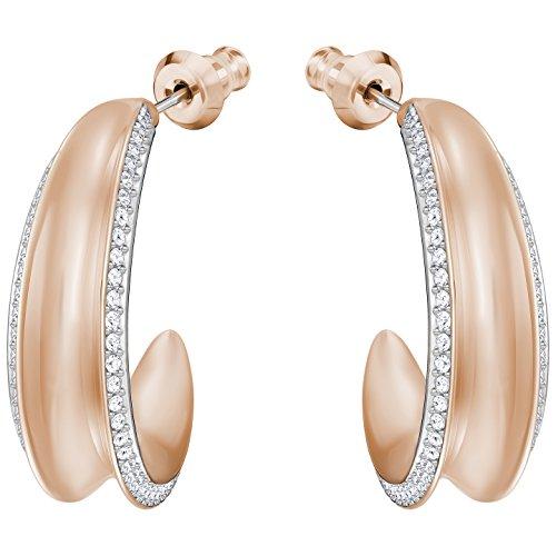 (Swarovski Lakeside Hoop Pierced Earrings - White - Rose Gold Plating - 5387646)