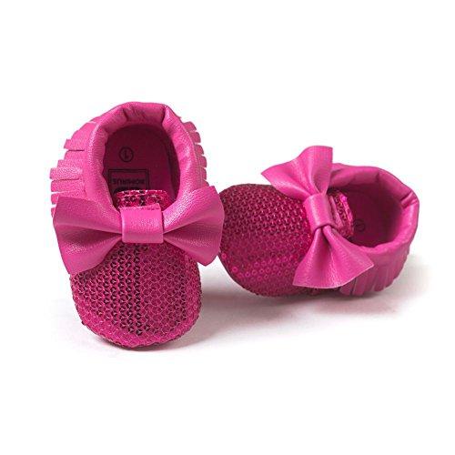 ESHOO bebé niños niñas borla flecos Mocasín Lazo suave suela zapatos de sintética rosa rosa Talla:0-6 meses Rosa y rojo