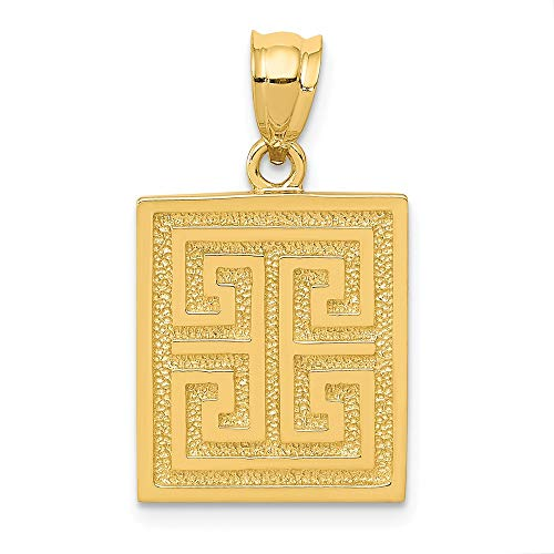 14k Yellow Gold Greek Key Pendant Charm Necklace Travel Transportation Man Fine Jewelry Gift For Dad Mens For Him ()