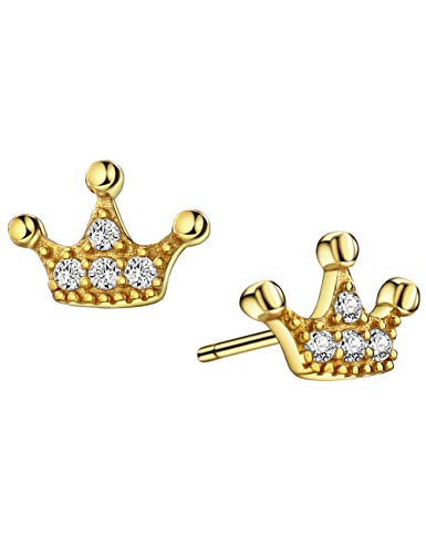 18K Gold Plated 925 Sterling Silver CZ Princess Crown Stud Earrings with Silver Post for Girls
