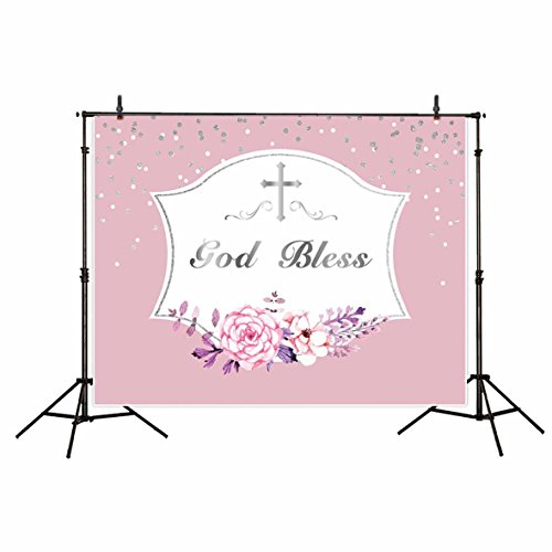 First Communion Portrait (Funnytree 7X5FT Polyester First Communion Theme Backdrop Silver Sequin Dots Flower Branch and Crucifix Pink and White Background for Photography or Decoration)