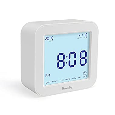 DreamSky Portable Alarm Clock With Timer, Time/Date/Temperature Display In 4 Angle , Light Activated Night Light ,Battery Operated Travel Clocks.Simple To Set