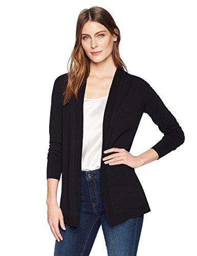 Amazon Brand - Lark & Ro Women's Lightweight Long Sleeve Mid-Length Cardigan Sweater, Black, X-Large