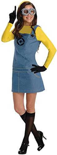 Minions Movie Womens Plus Size Minion Costumes (UHC Women's Despicable Me Movie Theme Lady Minion Outfit Halloween Fancy Costume, S (4-6))