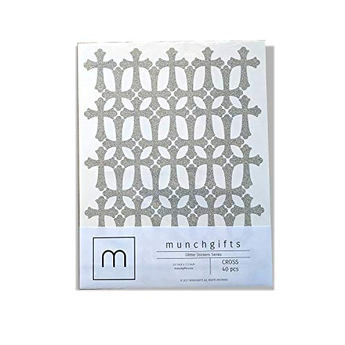 Non Shed Cross Glitter Stickers Set (2.0 inch - 40 pcs, Silver)