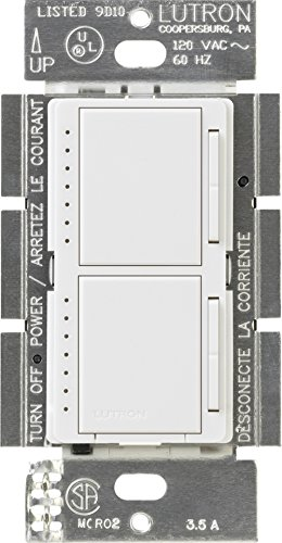 Lutron MA-L3L3-WH Maestro 300 Watt (top)/300 Watt (bottom) Single Pole Dual Dimmer, White Double Switch