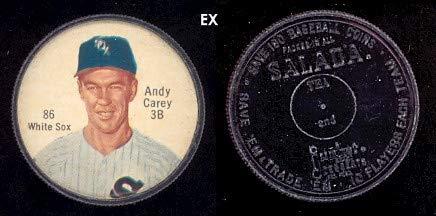 1962 salada tea coins (Baseball) card#86a-180 andy carey (180 back) of the Chicago White Sox Grade Excellent (Salada Baseball Coins)