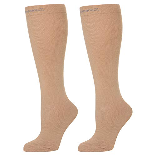 Compression Socks for Men & Women - 30-40 mmHg Graduated Compression - Medical Grade for Varicose Veins, Edema, Severe Swelling in Feet & Legs (Nude, Large)
