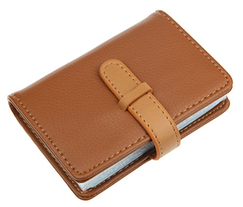 DKER PU Leather Credit Card Holder with 26 Card Slots - Book Style - Size 4.2 X 3 X 0.7 Inches (Khaki)