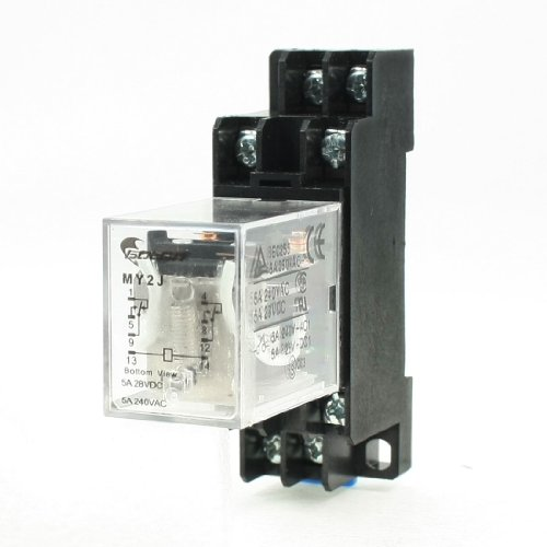 Uxcell MY2J 12V DC 8Pin 5 Amp 240VAC/28VDC Coil General Purpose Power Relay with Socket