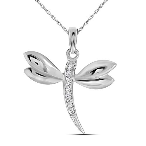 Dazzlingrock Collection 10k White Gold Diamond-accented Dragonfly Womens Winged Bug Insect Charm Pendant .03 - Pendant 10k Gold Dragonfly