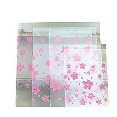 Hustar 200 Pcs Daisy Flower Self Sealing Cello Cellophane Bags Bakery Candle Soap Cookies Poly Bags Pink