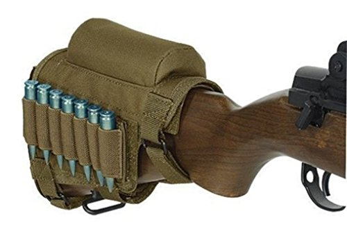 uttstock Rifle Cheek Rest Pouch Bullet Holder Pack Riser Cartridges Carrier Case Holde Khaki (Butt Pack Khaki)