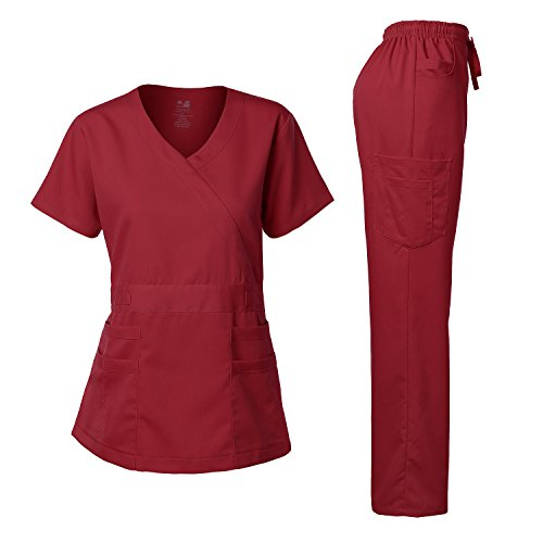 Women's Scrubs Set Stretch Ultra Soft Y-Neck Wrap Top and Pants Burgundy XS
