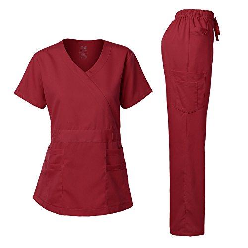 (Women's Scrubs Set Stretch Ultra Soft Y-Neck Wrap Top and Pants Burgundy XS)