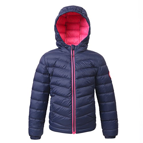 (Rokka&Rolla Girls' Ultra Lightweight Hooded Packable Puffer Down Jacket Dark Navy)