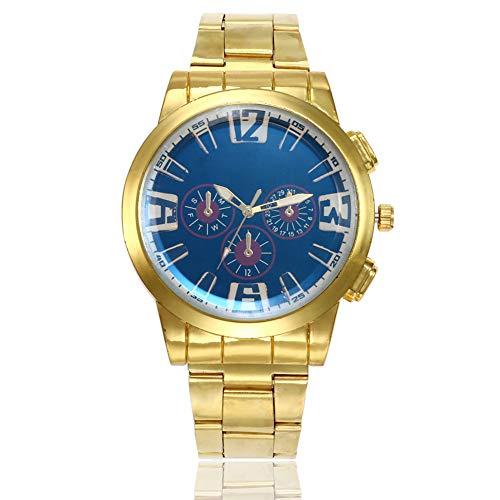 Wrist Watches Fashion Accessories, Business Men Round Case Large Dial Alloy Band Quartz Wrist Watch Gift - Blue Dial ()