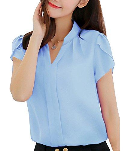 Couleur Lache en Chemisier Col Chic V Chemise Manche Mousseline Casual Femme Azur Courte Runyue Unie q7Bw88