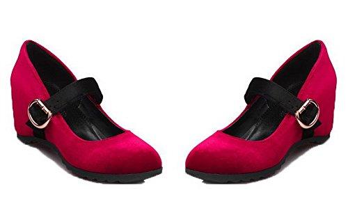 Ballet Trafilatura VogueZone009 Tonda Rosso Flats Tirare Puro Donna Medio Punta Tacco FwgqU