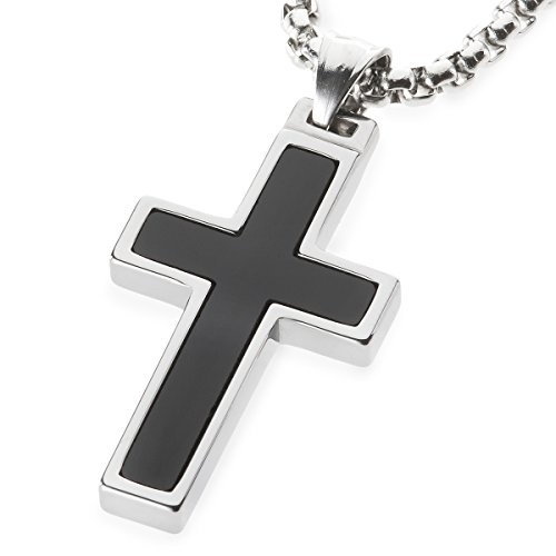 Inlay Tungsten Cross Pendant. 4mm wide Surgical Stainless Steel Box Chain. 22 Inch Length (Stainless Steel Tungsten Cross)