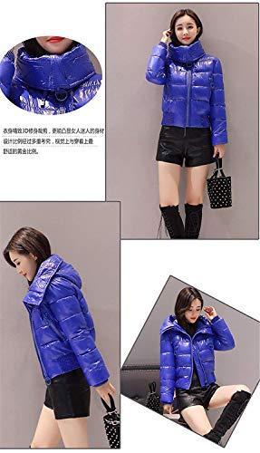 Fashion Addensato Slim Cappuccio Winter Frontali Down Breve Dolcevita Lunga Tasche Con Overcoat Fit Unita Coat Manica Cerniera Ladies Blau Tinta Targogo Caldo xftwzHf