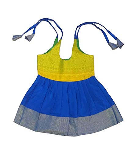 Pattu Pavadai New Born Baby Girl Silk Frock (Green and Blue; 3 Months) ()