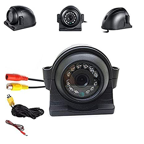 4PIN Connector Vehicle Backup Side View Camera HD 12V//24V 12 LED IR Night Vision 4 Pin Reverse Rear View Camera Waterproof IP68 with 5m Video Cable for Truck Bus Trailer RV 5th Wheel Heavy Duty