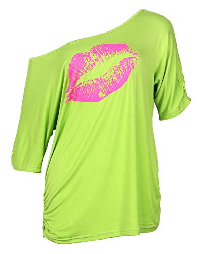 Smile fish Women Casual Oversized Sexy Lips Print Off Shoulder T-Shirt (S, Neon-Green)]()