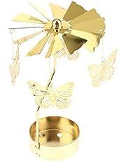 Glitter Gold Plated Windmill Tea Light Candle Holder Wedding Decor Ornament: Snowflakes, elf, Star, Heart, Xmas Tree, Deer - Butterfly