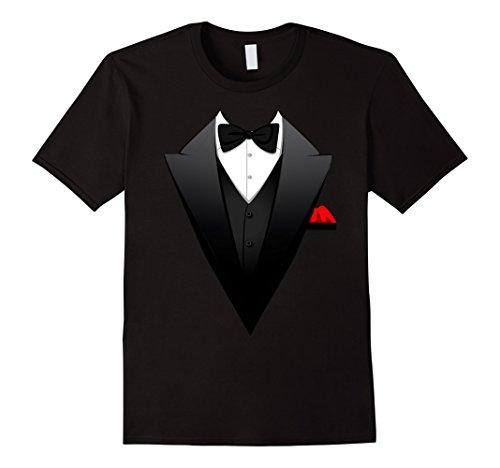 Men's Funny Printed Suit, Tuxedo, Business Costume For Men T-Shirt 2XL Black (Tuxedo Halloween Costume Ideas)