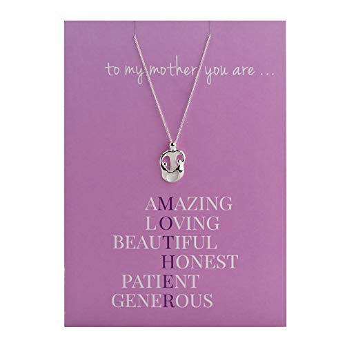 Loving Family - Greeting Card with Sterling Silver Mother with Two Children Pendant Necklace - 18