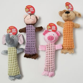 DOG TOY PLUSH ANIMAL ASST W/SQKR 10 INCH LONG IN PDQ, Case Pack of 36