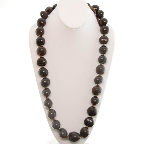 Hawaiian Lei Necklace of Dark Brown Kukui Nuts - Hawaiian Nut Necklace
