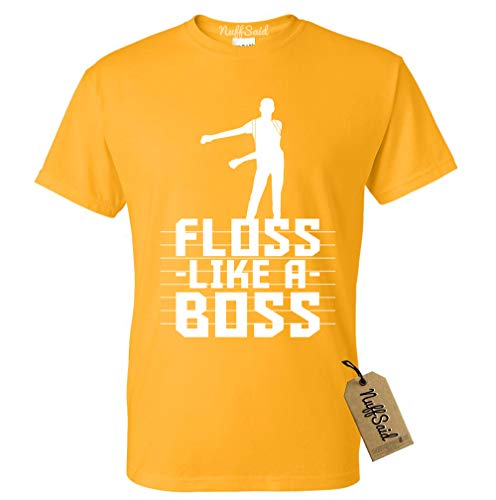 NuffSaid Adult Floss Like A Boss T-Shirt - Back Pack Kid Flossin Emote Dance Dance Tee (Small, Gold - White Ink)