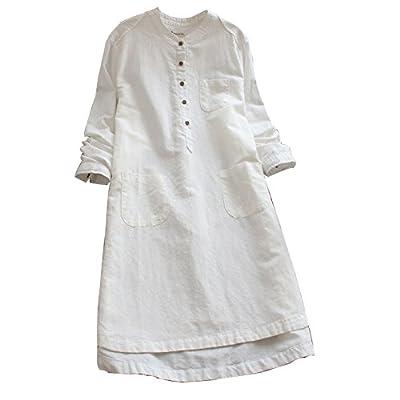 Ashir Aley Vintage Loosen Casual Cotton Linen Long Sleeve Pockets Side Shirt Dress