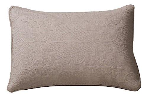 DaDa Bedding Beige Pillow Sham - Sand Dollar Cotton Floral Taupe Tan - King Size 20