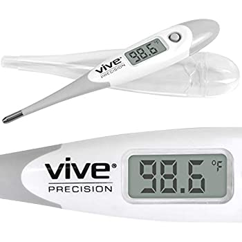 Vive Precision Digital Oral Thermometer - Electronic Basal Body Temperature Monitor for Fevers - Axillary Underarm, Quick Reading, Accurate, Waterproof, ...