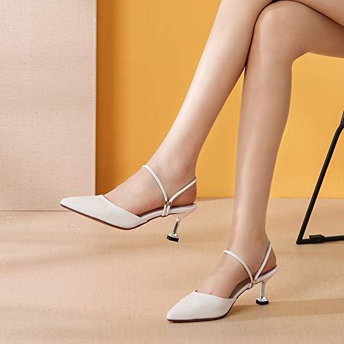 Ocho Treinta 6cm Baotou Kokqsx De Pointcuts Blanco sandalias Y Cuero Alto Chistes Zapatos Tacon Real PqqwCOR