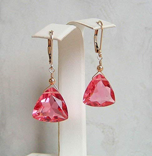 Pink Quartz Gold Filled Leverback Briolette Earrings Simulated Tourmaline October Birthstone Gift ()
