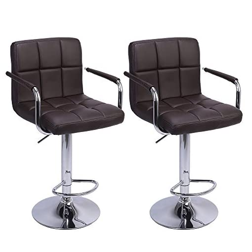 Kitchen Kepooman Swivel Bar Stools with Back,Modern Square PU Leather Hydraulic Adjustable Bar Chairs,Set of 2,Armrest,Kitchen… modern barstools