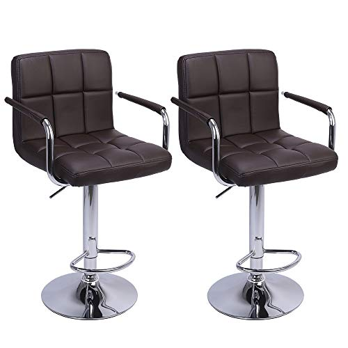 Kepooman Swivel Bar Stools with Back,Modern Square PU Leather Hydraulic Adjustable Bar Chairs,Set of 2,Armrest,Kitchen Counter Height Stool ()