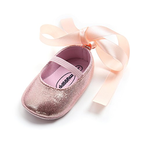 - Baby Girls Ballet Flats Soft Sole Infant Mary Janes Toddlers Princess Dress Shoes with Silk Ribbon