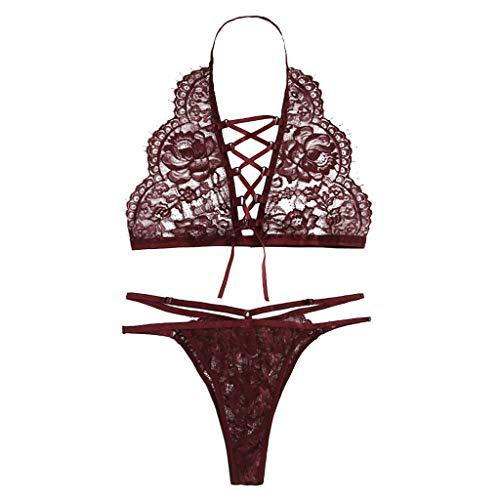 Velvet Trim Underwire Corset - Women Solid Tops+Briefs Corset Lace Underwire Racy Velvet Low Rise Bow Knot Front Halter Lingerie (XL, Wine)